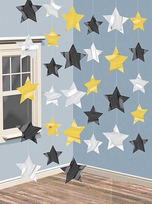Black, Gold & Silver Star String Decoration - 2m - Pack of 6