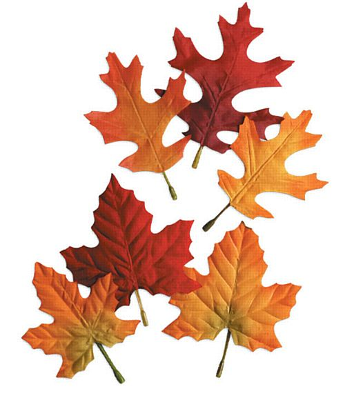 Fabric Autumn Leaves - 14cm - Pack of 12