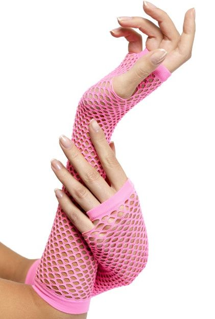 Click to view product details and reviews for Pink Fishnet Fingerless Gloves.