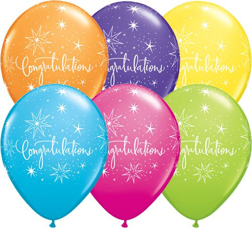 Congratulations Latex Balloons - Assorted - Pack of 6