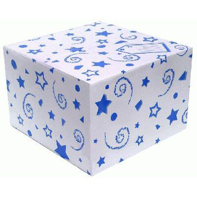 Balloon Box Blue Stars and Swirls - 37cm