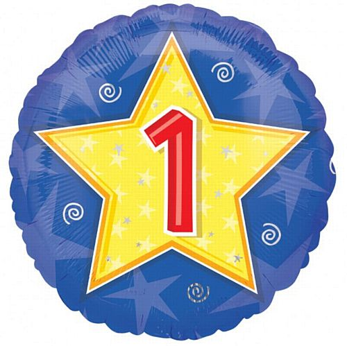 1st Birthday Stars & Swirls Foil Balloon 18""