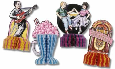 50's Playmates Table Centrepieces - set of 4 - 5""