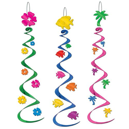 Luau Whirls - Assorted Designs - 76.2cm - Pack of 3