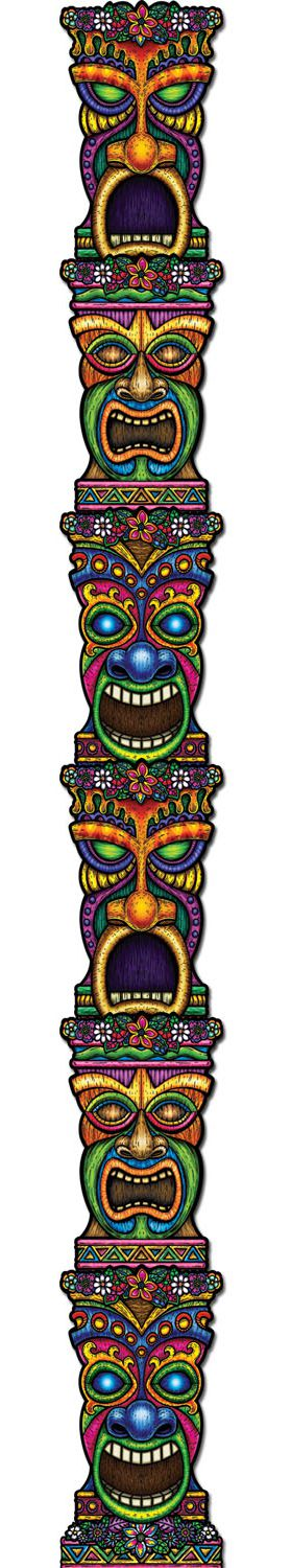 Tiki Totem Jointed Cutout Wall Decoration - 2.14m