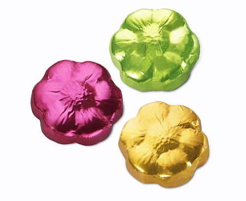 Foil Wrapped Flower Chocolates - Assorted Colours - 5g - Each