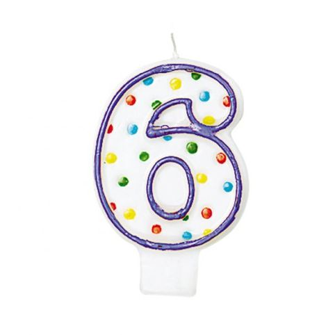 Polka Dots Birthday Candle Number '6' 7.6cm