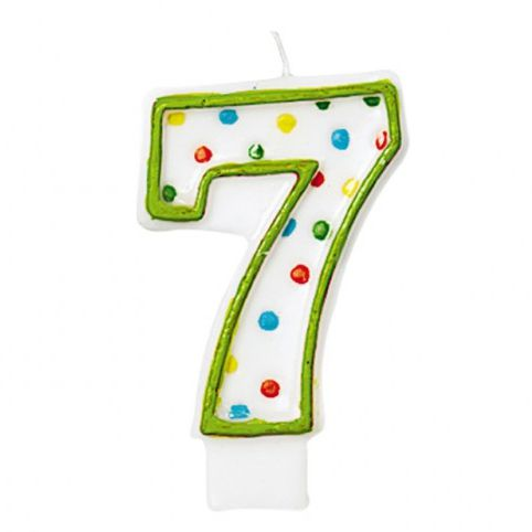 Polka Dots Birthday candle Number '7' 7.6cm