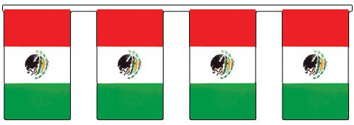 Outdoor Mexican Flag Bunting - 20m (60ft)