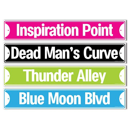 Rock & Roll Street Signs - 42cm - Pack of 4
