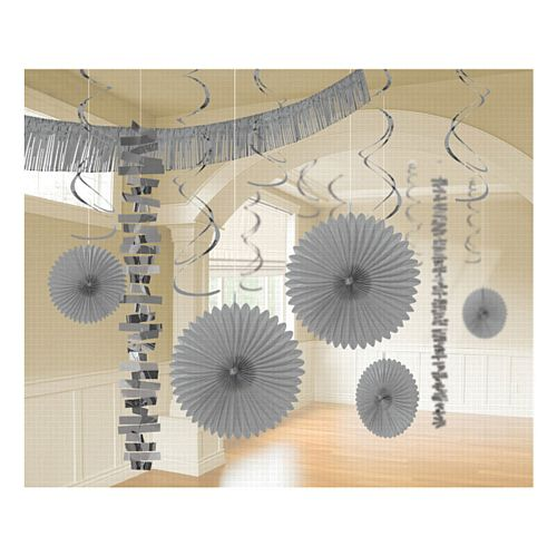 Silver Giant Room Decorating Kit - Pack of 18