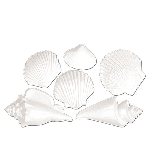 Plastic Sea Shells Decorations - 38.1cm - Pack of 6