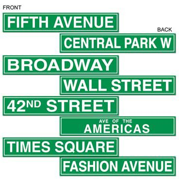 American NYC Street Sign Card Cutout Wall Decorations - 61cm - Pack of 4