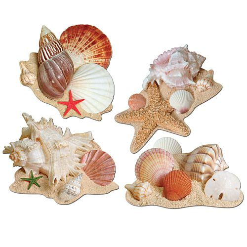 Seashell Cutouts - Assorted Designs - 40.6cm - Pack of 4