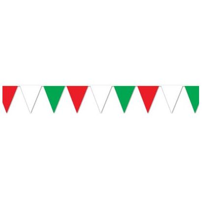 Red White & Green Bunting 'All Weather' - 3.7m