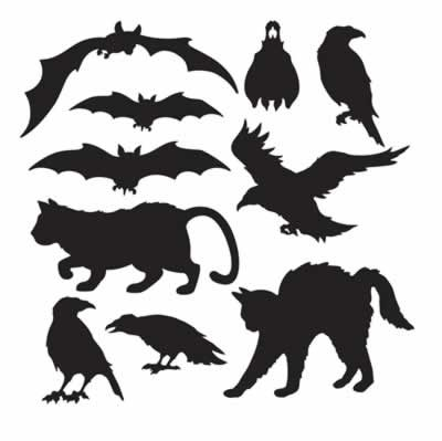 Halloween Silhouettes Card Wall Decorations 6 To 10 Pack Of 10