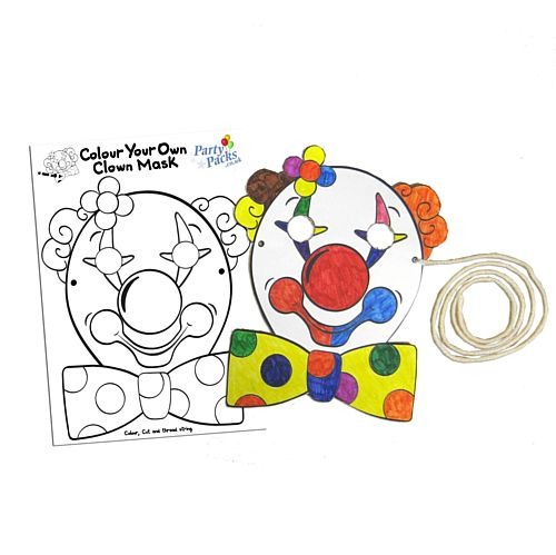 Clown Mask - Colour, Cut and String Your Own