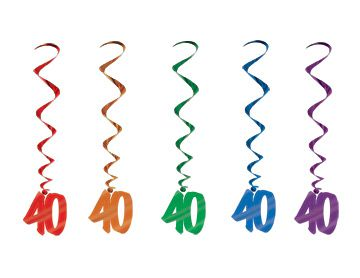 40th Number Whirls - Pack of 5