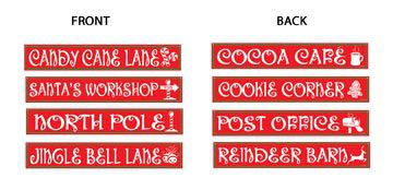 North Pole Street Sign Cutouts - Pack of 4