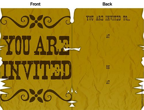 Wild West Wanted Invite (Pack of 8)