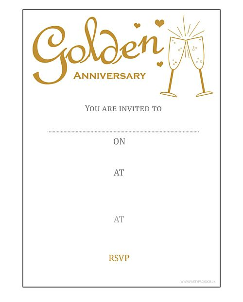 Golden Anniversary Invites (Pack of 8)