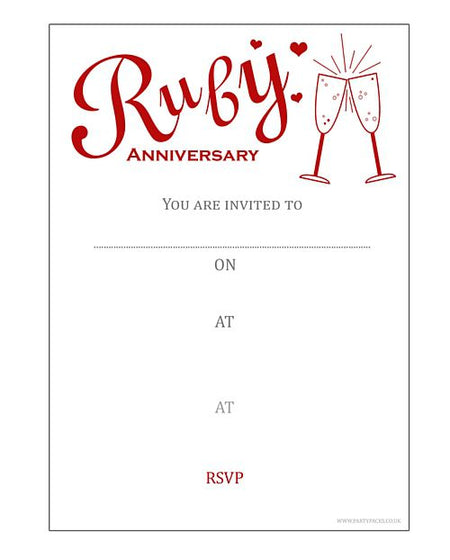 Ruby Anniversary Invites (Pack of 8)