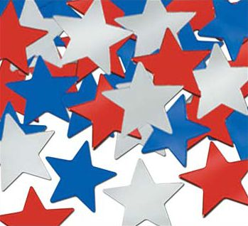 Confetti Stars Red, Silver & Blue - 1oz