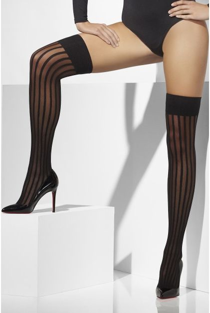 Black And Sheer Striped Stockings