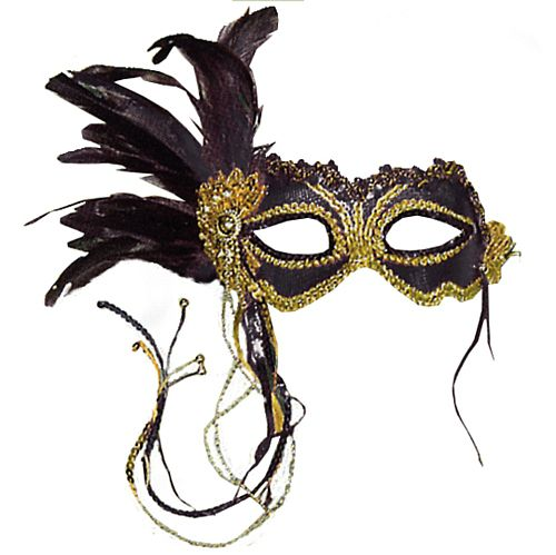 Black Eye Mask with Feather Decoration