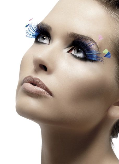 Blue Eyelashes with Coloured Feathers