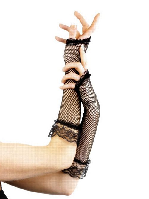 Long Black Fishnet Gloves with Lace Trim