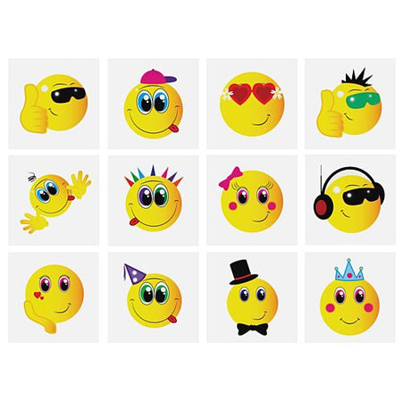 Mini Smiley Tattoos - Assorted Designs - 4cm - Pack of 12