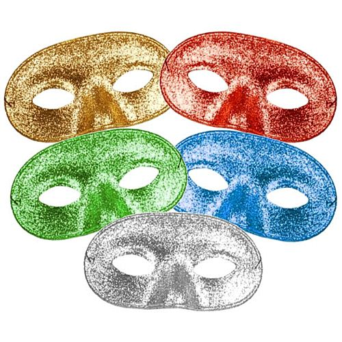 Assorted Colour Glitter Domino Eye Mask