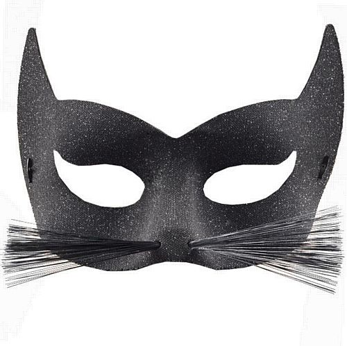Black Glitter Cat with Whiskers Eye Mask
