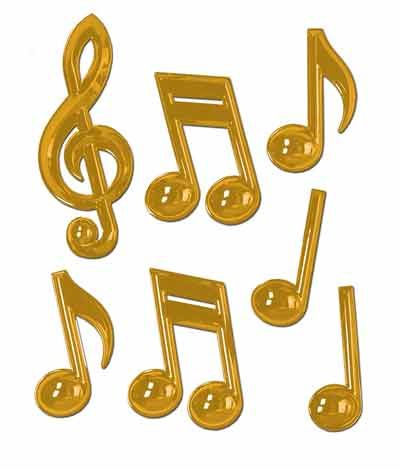 Gold Plastic Musical Notes - Pack of 7 - 13