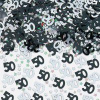 50th Birthday Black/Silver Metallic Confetti 14G