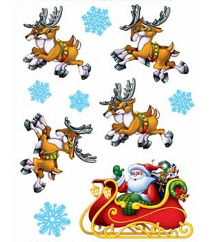Click to view product details and reviews for Santa Sleigh Cling Decorations 40cm Sheet Of 10.
