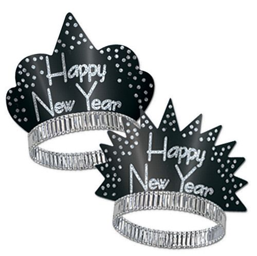 Black & Silver Happy New Year Sparkling Tiara - Each