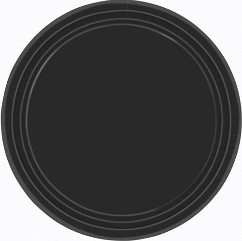 Black Plastic Plate - Pack of 20 - 9""