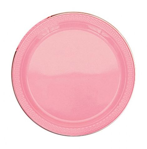 Light Pink Plastic Plate - Pack of 20 - 9""