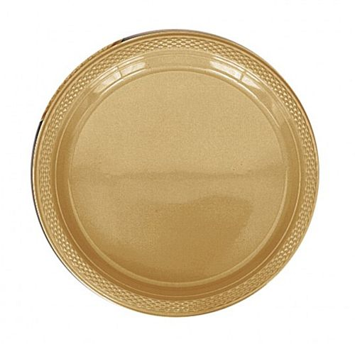 Gold Plastic Plate - Pack of 20 - 9""