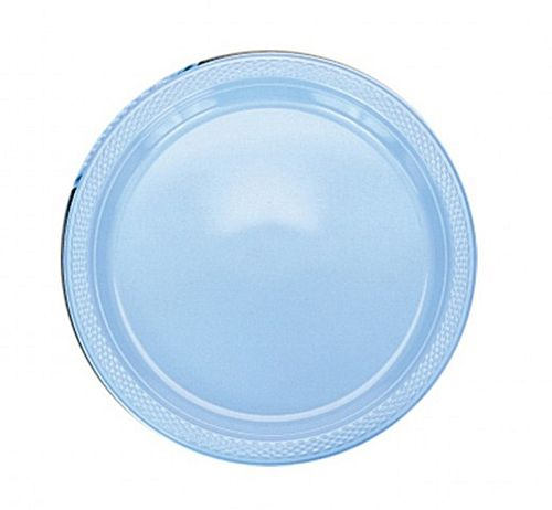 Light Blue Plastic Plate - Pack of 20 - 9""