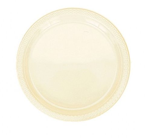 Ivory Plastic Plate - Pack of 20 - 9""