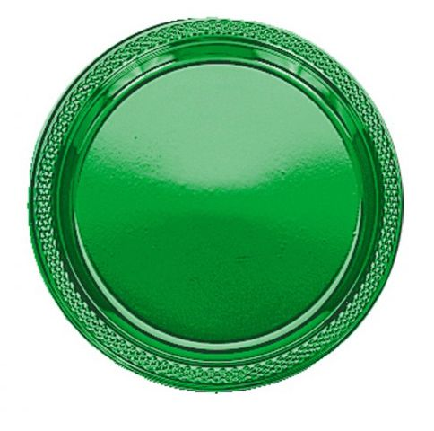 Green Plastic Plate - Pack of 20 - 9""