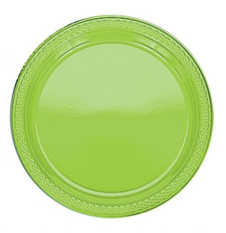 Lime Green Plastic Plate - Pack of 20 - 9""