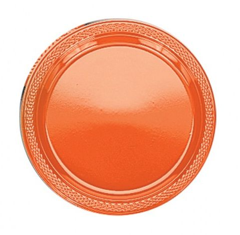 Bittersweet Orange Plastic Plate - Pack of 20 - 9""
