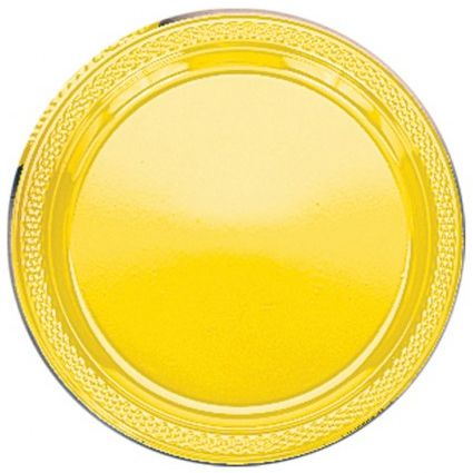 Golden Yellow Plastic Reusable plates - Pack of 20 - 9""