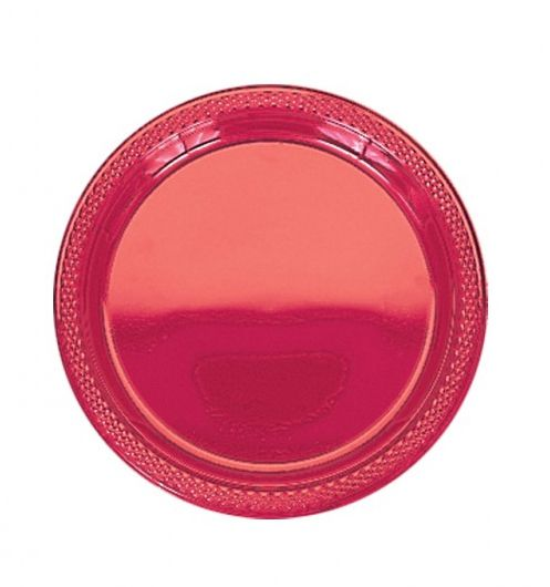 Red Plastic Plate - Pack of 20 - 9""