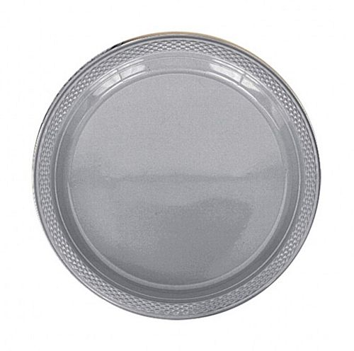Silver Plastic Plate - Pack of 20 - 9""