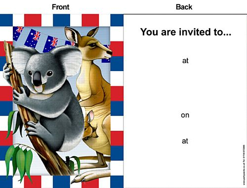 Australia Day Themed Invites - Pack of 8